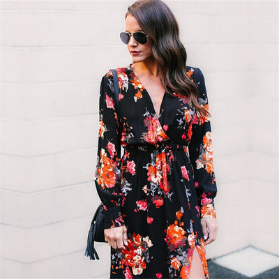 Women Floral Printed Long Maxi Dress Hippie T-Shirt Dress Casual Floral Print Autumn Winter Flowy Split Dress