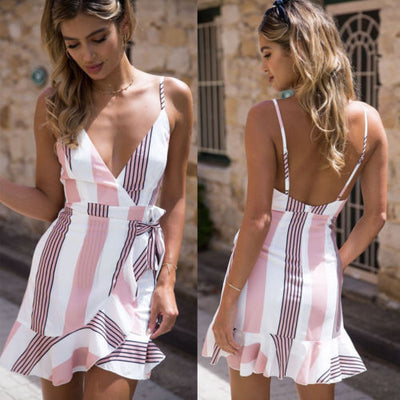 Women Floral Sundress Mini Summer Evening Party Beach Dress Stylish Floral V neck Backless Sexy bohemian beach dress Female