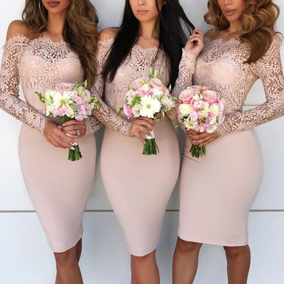 Women Formal Bandage Bodycon Dress Casual Long Sleeve Party Lace Mini Dress Wedding bridesmaid Gown Boho Elegant vestido