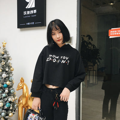 Women Friends TV Show Hoodie How You Doin Letter Print Crop Hoodie Long Sleeve Casual Pullover Sweatshirt Tops