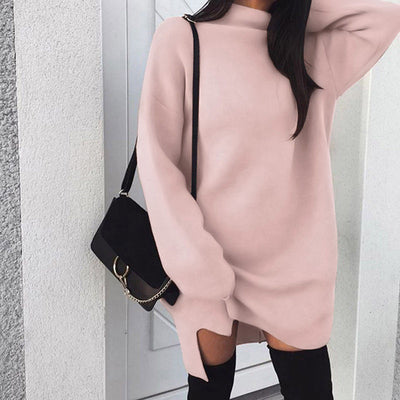 Women High Collar Dress Long Sleeve Jumper Sweater Knitwear Pullover Dress