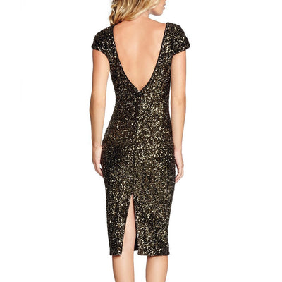 Women Hot Summer Dress O-neck Paillette Sequins Short Sleeve Bodycon Slim Pencil Party Dresses Night Club Elegant Vestidos Mujer