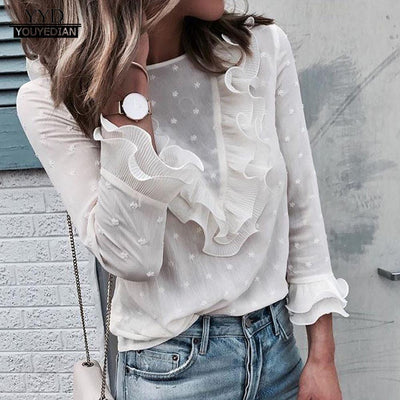 Women Ladies Blouses Elegant Casual Ruffles Lace Polka Dot O Neck Shirt Long Sleeve Tops Blouse Autumn blusa feminina 2019