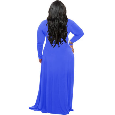 Women Long Sleeve Autumn Floor-length Dress Sexy Deep V-neck Tunic High Waist Robe Longue Casual Solid Maxi Vestidos Blue Black