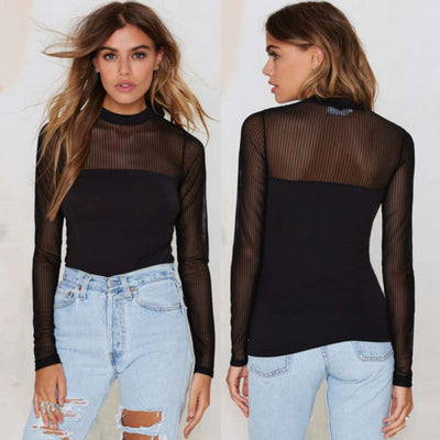 Women Long Sleeve Black Transparent T-Shirts Striped Perspective Skinny Shirt Casual Mesh Sheer Tops T Shirt
