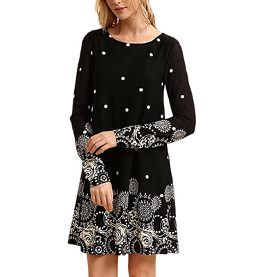 Women Long Sleeve Dress Autumn Print O-neck A-Line Mini Dresses Vintage Casual Sexy Vintage Beach Dress robe femme ete New