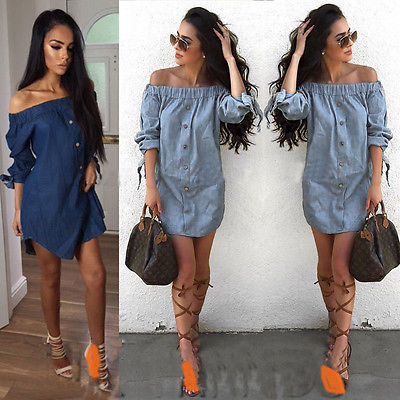 Women Off Shoulder Shirt Blouses Summer Casual Holiday Short Tunic Mini Dresses Ladies Womens Dress Sundress Clothing