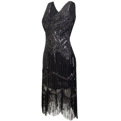 Women Party Dress Robe Femme 1920s Great Gatsby Flapper Sequin Fringe Midi Dress Vestido Summer Art Deco Retro Black Dress