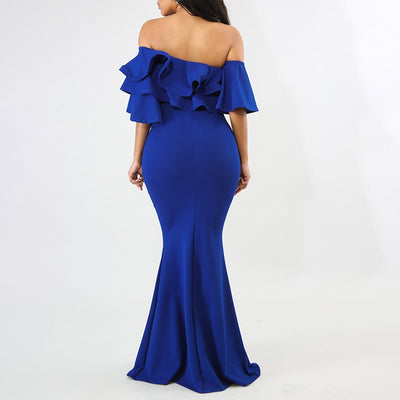 Women Party Mermaid Bodycon Dress Off Shoulder Ruffles Backless Summer Blue Elegant Robe Evening Ladies Black Sexy Maxi Dresses