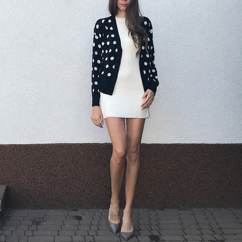a7bc889baf6 Women Polka Dot Cardigans Sweater Single Breasted Cardigan Coat 2018 Autumn  Winter Shawl Jacket V Neck