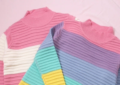 Women Pullover Urtleneck Rainbow Sweater Maccaron Color Stripes Loose Sweater Tumblr Female Spring Autumn New Fashion