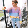 Women Rainbow Striped Pullover Sweaters New Winter And Autumn Fashion Colorful Oversized Loose Knit Jumpers