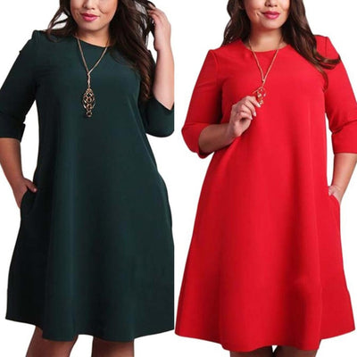 Women Red Big Size Dress Spring Autumn Ladies Dresses Pockets Casual Dress Loose Plus Size O Neck Dresses Large Sizes