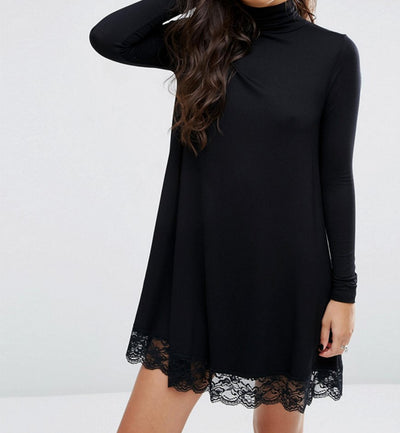Women Sexy Black Crochet Lace Long Sleeve Loose Shift Dress Fall Patchwork Dresses Club Dress Autumn Winter Dress