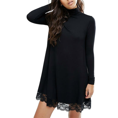Women Sexy Black Crochet Lace Long Sleeve Loose Shift Dress Fall Patchwork Dresses Club Dress Spring Autumn Dress A123118