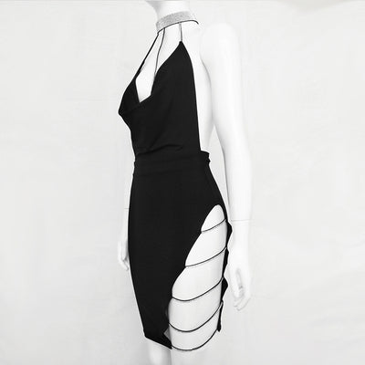 Women Sexy Crystal Diamond Bandage Halter Backless Party summer Dresses