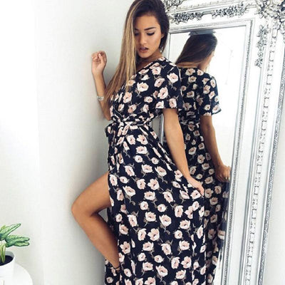 Women Sexy Dress Summer Short Sleeve Lace up Long Maxi Dress Girls V-neck Floral Printed Vintage Casual Beach Hobo Hippie Dress