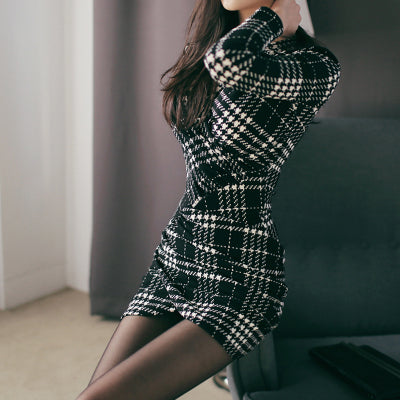 Women Sexy Mini Dresses Autumn Office Houndstooth Plaid V-Neck Long Sleeve Bandage Bodycon Dress Sheath Party Dress Vestido