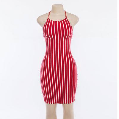 Women Sexy Sleeveless Backless Dresses Women Fashion Slim White And Red Striped Dress Summer Casual Elegant Female Dress Vestido
