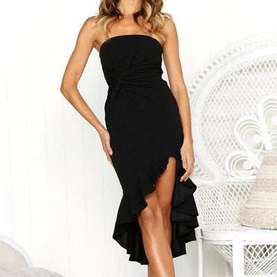 Women Sexy Strapless Backless Dresses Women Fashion Solid Ruffles Dress Summer Casual High Waist Ladies Dress Vestido