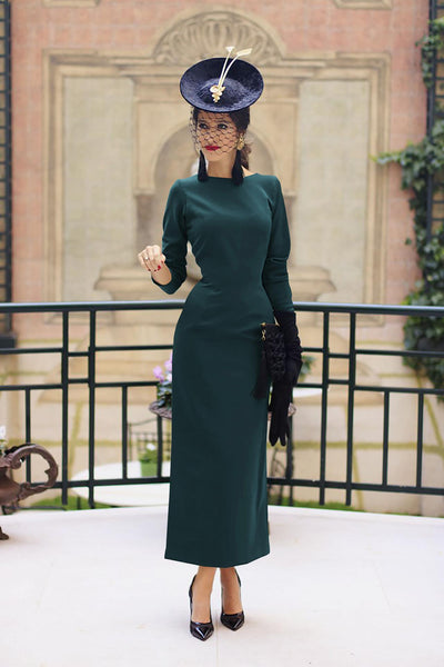 Women Spring Vintage Deep V-neck Button Party Dress Elegant Slim Fit Lady Office Split Midi Bodycon Backless Knee Length Dress