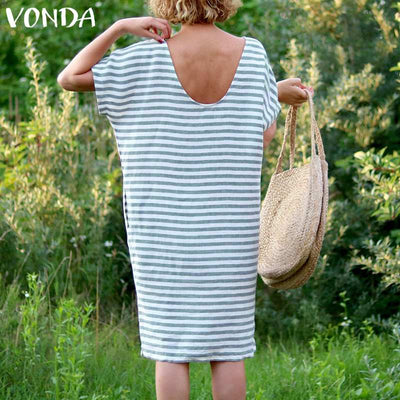 Women Striped Dress Summer VONDA Sexy O Neck Short Sleeve Backless Vintage Dresses Casual Loose Vestidos Plus Size M-5XL