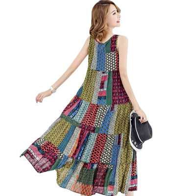 Women Summer Boho Dress Geometry Print O Neck Sleeveless Maxi Long Dress Vintage Plus Size Dresses Red/Green/Blue Robe Femme