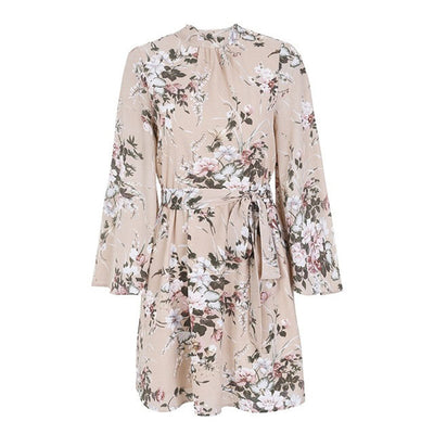 Women Summer Casual Dress Womens Elegant Long Sleeve Bandage Backless Floral Print Vintage Chiffon Short Vacation Beach Dresses