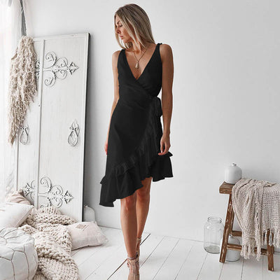 Women Summer Lace Up Strap Ruffles Dress Sexy Deep V-Neck Wrap Backless Party Dress Female Solid Irregular Hem Beach Dress S-XXL