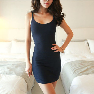 Women Summer Sexy Backless Basic Dresses Sleeveless Slim Vestidos Vest Tanks Bodycon Dress Strap Solid Party Dress