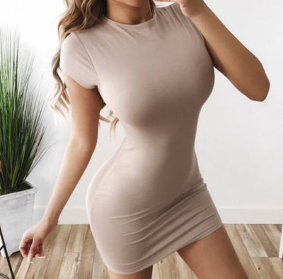 Women Summer Short Sleeve Tight Dress Stretch Bodycon Party Mini Dress