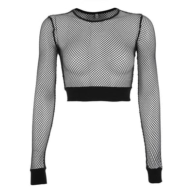 Women T-shirt Solid Black Mesh Sexy Hot Long Sleeve Perspective Mesh Fishnet Crop Tops T-Shirt