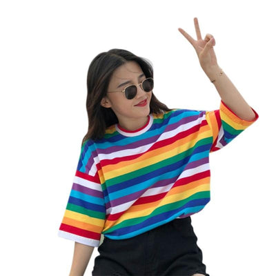 Women Tees Sweet Rainbow Striped Print T Shirts Fashion Short Sleeves T-shirts Women's O-Neck Tees Tops