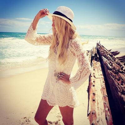 Women Vintage Beach Dress Sexy Long Sleeve Floral Lace Embroidered Crochet Summer Short Dresses White Hippie Boho Mini Dress