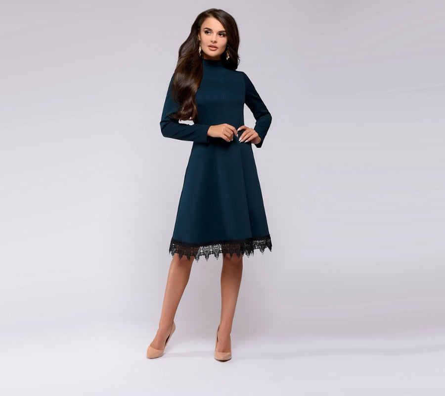 Women Vintage Lace Edge Dress Fashion Long Sleeve O Neck Knee Length A Line Dresses Autumn Ladies Purple Party Dress