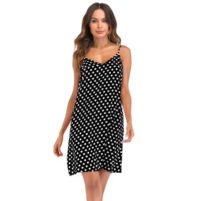 Women Vintage Polka Dot Dress 5XL Plus Size Mini Dress V Neck Sleeveless Spaghetti Straps Backless Slip Dress Casual robe female