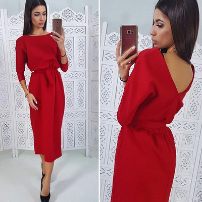 Women Vintage Straight Backless Dress Ladies Seven Sleeve O Neck Sashes Knee Dress Spring Office Lady Elegant Women Dress