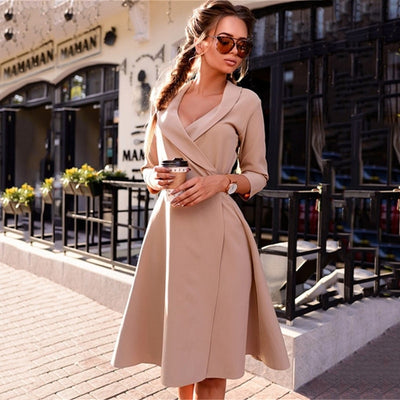 Women Vintage V-neck A-line Dress Autumn Fashion Solid Color Sashes Three Quarter Sleeve Office Dress Sexy Party Dresses