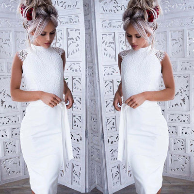 Women White Lace Dress Summer Floral Backless Dress Sundress Sweet Voile Wedding Princess Party Dress robe femme ete 2019