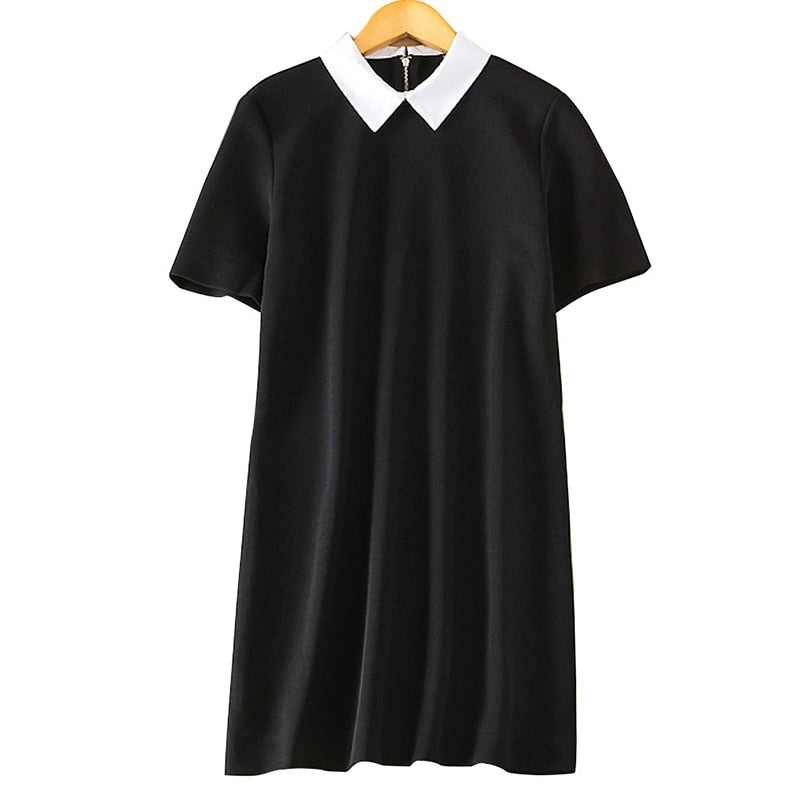 412a2fe9469b Women black white office Dress cute peter pan collar short sleeve loose  casual Vestido feminina Europen