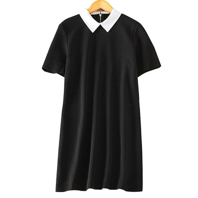 Women black white office Dress cute peter pan collar short sleeve loose casual Vestido feminina Europen style dress QZ2204