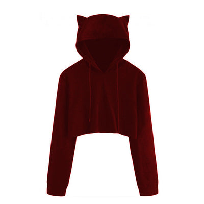 Women kpop Cat Ear Hoodie Jumper Casual Pullovers Cropped Fashion Harajuku Hip Hop Sweatshirt Autumn Female Sweet cute Clothes