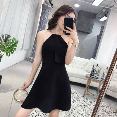 Women Clothing New summer Nightclub sexy korean style halter Metal ring backless Self-cultivation sleeveless hipster dresses