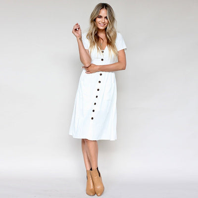 Women Fashion Summer Short Sleeve V Neck Button Down Swing Midi Dress With Pockets Ladies Beach Dress Women Sundress Vestidos