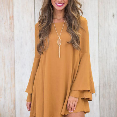 Women Flare Sleeve Dress Loose Dress Ladies Casual Comfy Robe Backless Mini Dresses