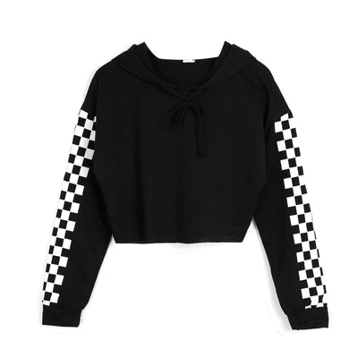 Women Hoodie Sweatshirt Jumper Crop top Sports Pullover Plaid Sweatshirts