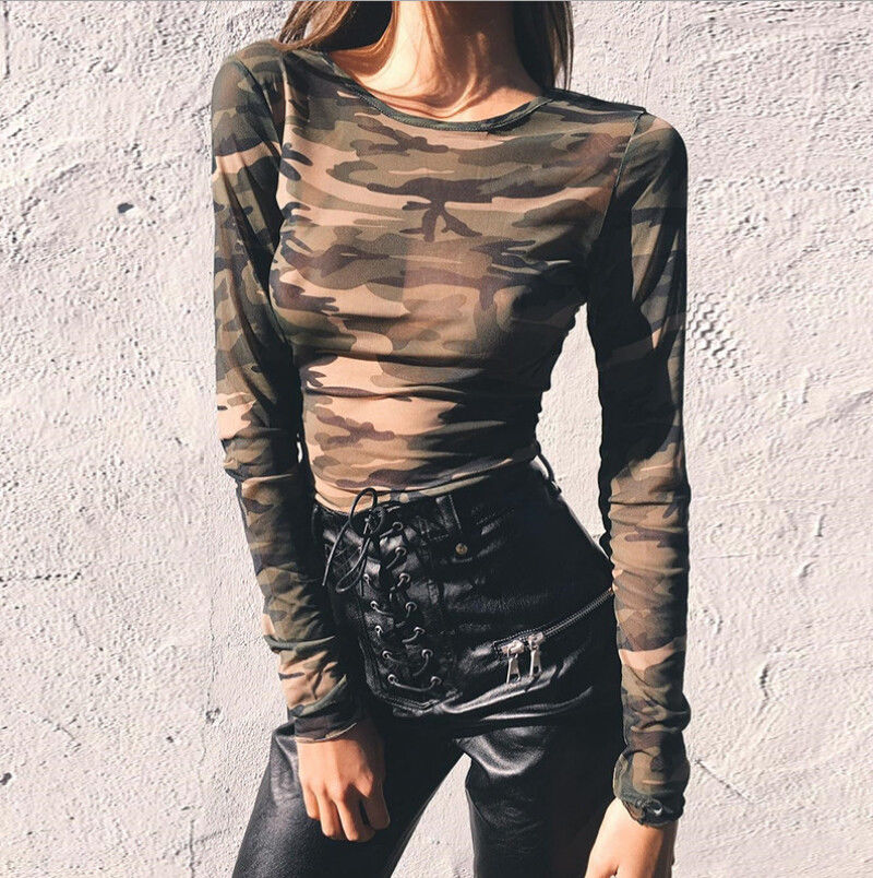 890ccef387441 Women Ladies Crop Top Autumn Loose Casual Tops Long Sleeve Camo T Shirt  See-through
