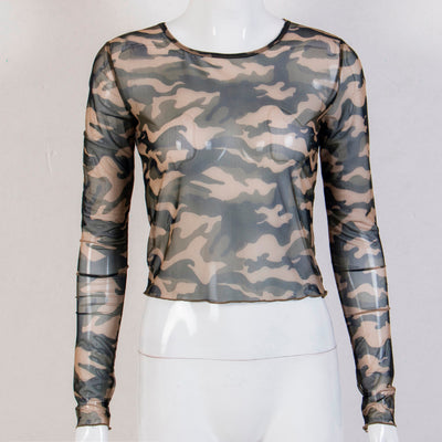 Women Ladies Crop Top Autumn Loose Casual Tops Long Sleeve Camo T Shirt See-through Mesh Fashion Hot Clothes Thin T-shirt