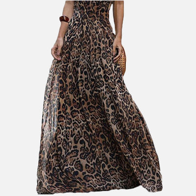 Women Leopard V-Neck Maxi Dress Sleeveless Backless High Waist Long Dresses Women Spring Summer Spaghetti Strap Clothes