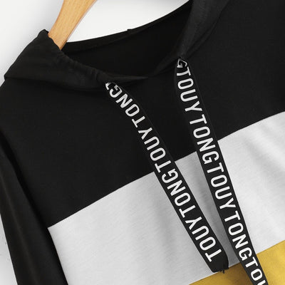 Women Long Sleeve Letter Print Tape Drawstring Hoodie Colorblock Sweatshirt PH10 sweatshirts women 2018